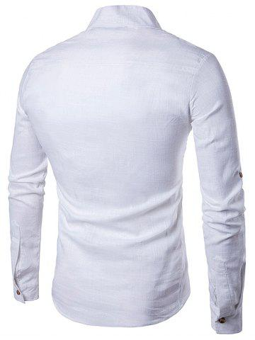 Online Cotton Linen Stand Collar Long Sleeve Shirt - S WHITE Mobile