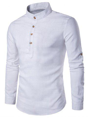Online Cotton Linen Stand Collar Long Sleeve Shirt - WHITE M Mobile
