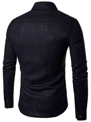 Chic Cotton Linen Stand Collar Long Sleeve Shirt - BLACK L Mobile