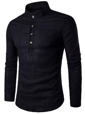 Unique Cotton Linen Stand Collar Long Sleeve Shirt - BLACK L Mobile