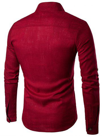 Store Cotton Linen Stand Collar Long Sleeve Shirt - RED M Mobile