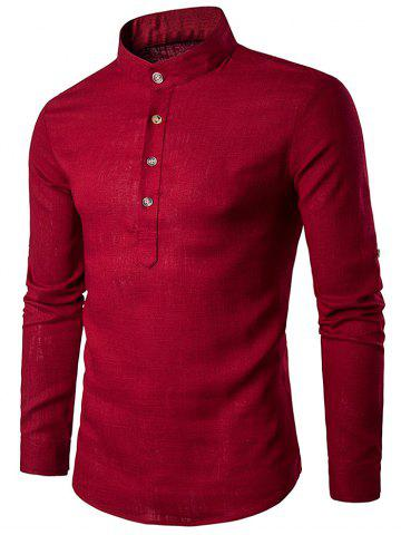 Shop Cotton Linen Stand Collar Long Sleeve Shirt - RED L Mobile