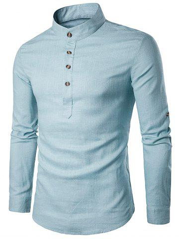 Online Cotton Linen Stand Collar Long Sleeve Shirt - S LIGHT BLUE Mobile