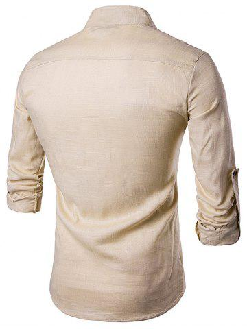 Best Cotton Linen Stand Collar Long Sleeve Shirt - KHAKI XL Mobile