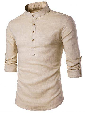 Unique Cotton Linen Stand Collar Long Sleeve Shirt - KHAKI XL Mobile