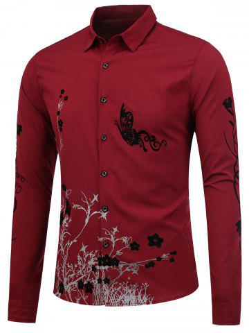 Outfits Floral Long Sleeve Shirt - M WINE RED Mobile