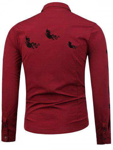 Cheap Floral Long Sleeve Shirt - XL WINE RED Mobile