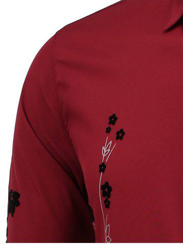 Online Floral Long Sleeve Shirt - 2XL WINE RED Mobile