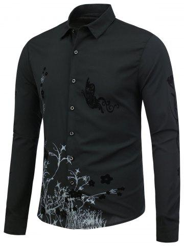 Discount Floral Long Sleeve Shirt - XL BLACK Mobile