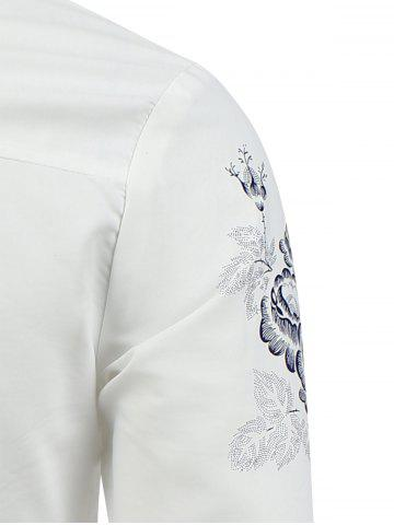 Discount Turn Down Collar Floral Shirt - M WHITE Mobile
