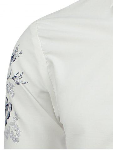 Affordable Turn Down Collar Floral Shirt - M WHITE Mobile