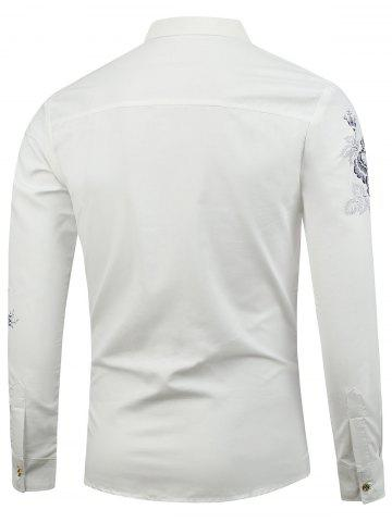 Discount Turn Down Collar Floral Shirt - L WHITE Mobile