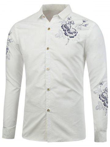 Chic Turn Down Collar Floral Shirt - L WHITE Mobile