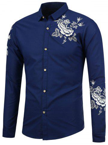 Fashion Turn Down Collar Floral Shirt - M SAPPHIRE BLUE Mobile