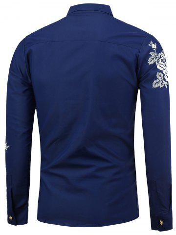Cheap Turn Down Collar Floral Shirt - M SAPPHIRE BLUE Mobile