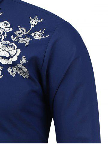 Chic Turn Down Collar Floral Shirt - L SAPPHIRE BLUE Mobile