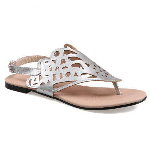 Fashion Hollow Out Flat Heel Sandals SILVER 38