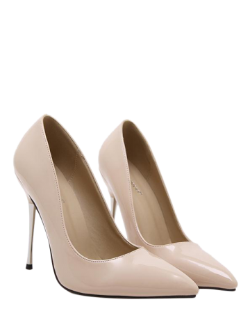 Discount Patent Leather Stiletto Heel Pumps APRICOT 40