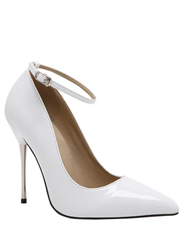 Stiletto Heel Ankle Strap Pumps - White - 40