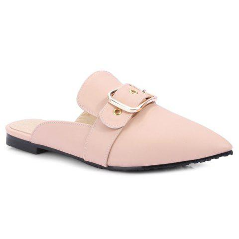 Trendy Belt Buckle Flat Heel Slippers PINK 38