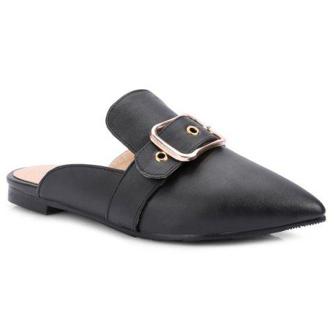 Best Belt Buckle Flat Heel Slippers - 38 BLACK Mobile