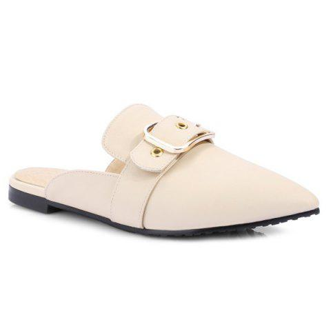 Affordable Belt Buckle Flat Heel Slippers - 37 OFF-WHITE Mobile
