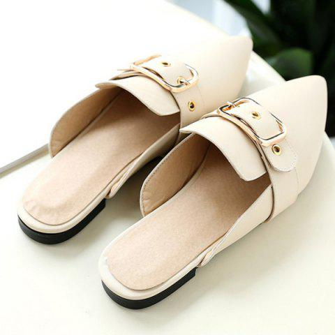 Unique Belt Buckle Flat Heel Slippers - 37 OFF-WHITE Mobile