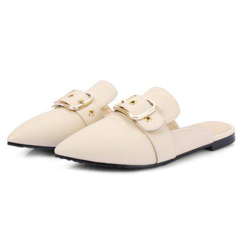 Fashion Belt Buckle Flat Heel Slippers - 37 OFF-WHITE Mobile
