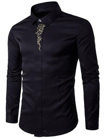 Latest Turndown Collar Embroidered Long Sleeve Shirt - BLACK L Mobile