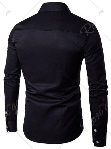 Affordable Turndown Collar Embroidered Long Sleeve Shirt - BLACK L Mobile