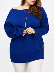 Plus Size Ribbed Cut Out Sweater - BLUE