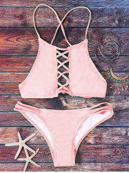 Halter Pink Hollow Out Bikini Set