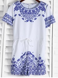 Short Sleeve Great Wall Print Porcelain Playsuit - BLUE