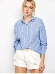 Oversized Embroidered Striped Chambray Work Shirt - BLUE S