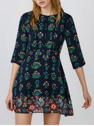 Three Quarter Sleeve Printed Pleated High Waist Chiffon Dress