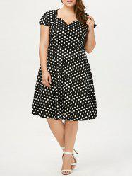 Polka Dot Cap Sleeve Plus Size Dress