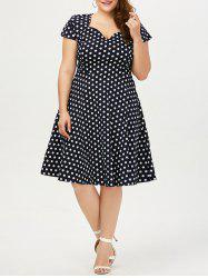 Polka Dot Cap Sleeve Midi Plus Size Dress