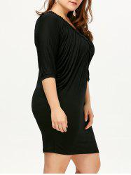 V Neck Ruched Plus Size Dress