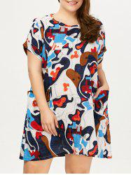 Plus Size Colored Baggy Dress  With Pockets
