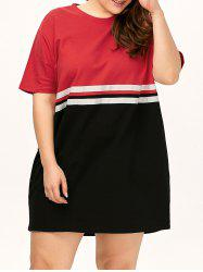 Plus Size Color Block Crew Neck Tee Dress