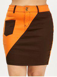 Color Block Mini Plus Size Skirt