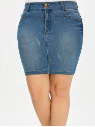 Denim Mini Plus Size Jean Pencil Skirt - DENIM BLUE