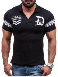 Graphic and Stars Print Short Sleeve Polo T-Shirt -