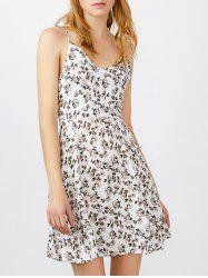 Spaghetti Strap Tiny Floral Print Mini Sundress - WHITE