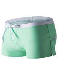 Back Pocket Drawstring Swimming Trunks - GREEN