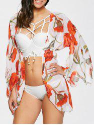 Strappy Bikini and Print Bathing Suit Cover-Up