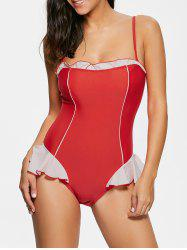 Two Tone Flounce One Piece Swimwear