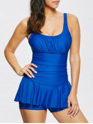 Scoop Neck Cut Out Ruffle Tankini
