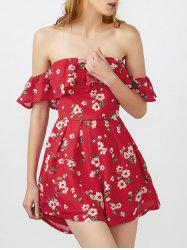 Off The Shoulder Short Sleeve Floral Strapless Summer Romper - RED