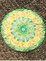 Mandala Lotus Flower Plage Round Cover Throw - Jaune